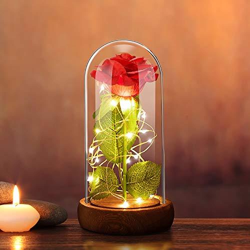Forever Rose Flower with 20 LED Light, Best Romantic...