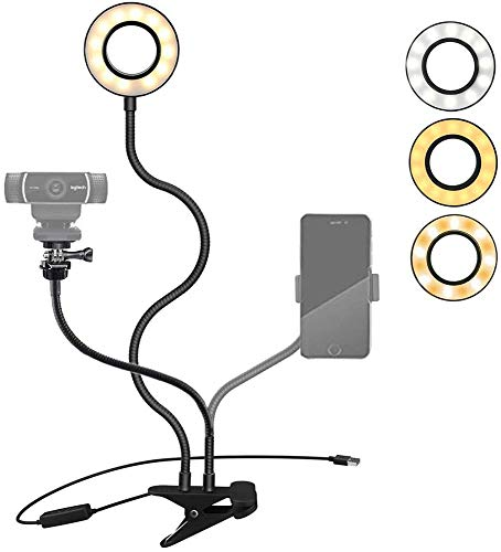 Webcam Light Stand for Live Stream/Makeup, Tencro LED Camera Selfie Ring Light  3-Mode, 10-Level] with Webcam Mount & Phone Holder for iPhone, Android, Logitech C925e, C922, C930, C920, C615, Brio 4K