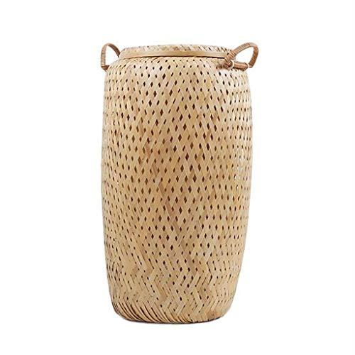 Wasserij Mand Ronde Bamboe Vlecht Huishoudelijke Draagbare Vuil Hamper Kleding Zonnestoelen Opbergmandje 22 * 40cm