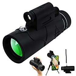 12x50 Monocular Telescope High Power HD Monocular Scope with Smartphone Holder and Tripod?Include LED Lighting and Infrared Lamp?Waterproof Night Vision with FMC BAK4 Prism for Bird Watching Wildlife Hunting Camping Traveling Concert and Scenery