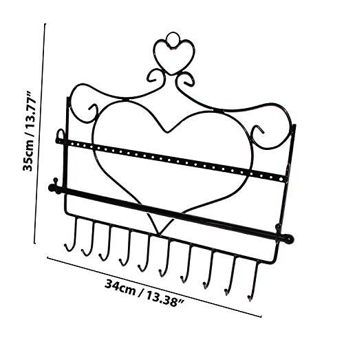 Porta Gioie da Appendere- 10 Ganci 28 Fori Supporto Nero Metallo Forma Cuore Montato a Muro per Gioielli L 34 cm x A 35 cm- Orecchini, Collane Barra Rimovibile per Bracciali e Monili