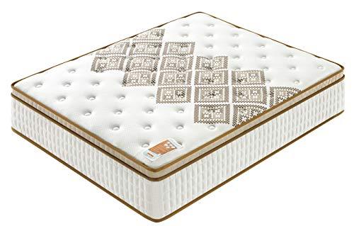 Sensoreve – matras Errakis Tonic – dubbele technologie: pocketvering + schuim met hoge dichtheid – 28 cm totale dikte – onafhankelijk bij het slapen – tonische ondersteuning en extreem duurzaam 160cm x 200cm