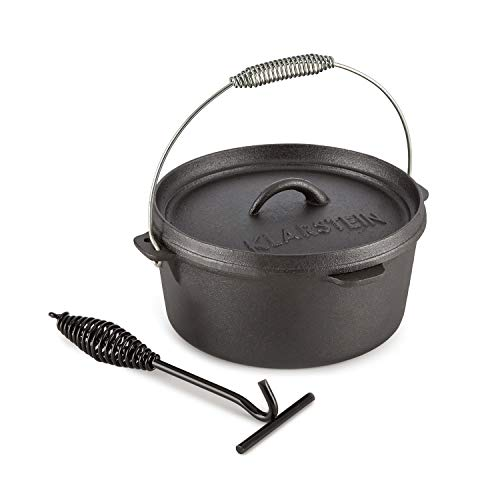 KLARSTEIN HOTROD 45 DUTCH OVEN BBQ • Cast Iron Pot for Cooking • Frying • Baking • Open Fire • Dutch Oven Pot with 4.5qt / 4L • Extra-High Lid Rim • Easy Handling Through Lid
