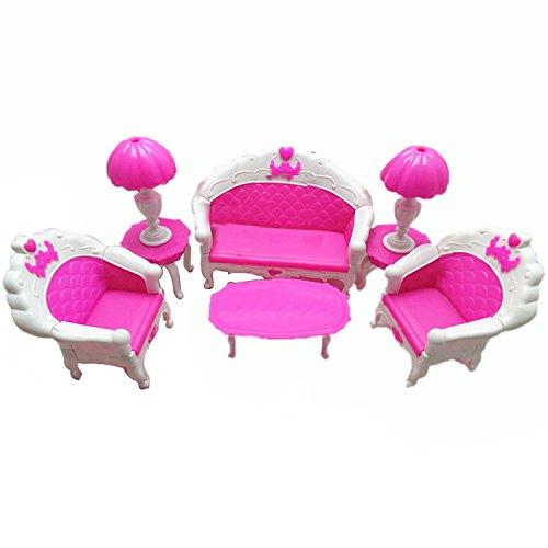 Mishiner 6 Stücke Kunststoff Mini Puppenhaus Möbel Wohnzimmer Wohnzimmer Sofa Stuhl Couch Schreibtischlampe Set für Barbie Zubehör