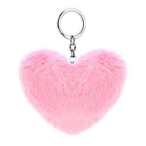 Soleebee Künstliche Kaninchenfell Keychain Flauschigen Liebesherz Pom Pom Schlüsselanhänger Taschen Koffer Rucksäcke Zubehör Charm Auto Schlüsselanhänger Schlüsselring für Frauen Mädchen (Rosa)