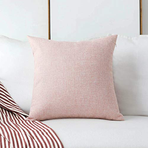 Home Brilliant Decorative Pillow Covers Lined Linen Square Throw Pillows Cover for Sofa Bench Couch, Baby Pink, 18x18(45x45cm)