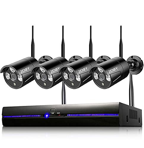 REIGY 3MP Kit Videosorveglianza Wifi Esterno con Registra Audio, Sistema di Sicurezza Senza Fili 8CH NVR+4x 1296P Camera, Telecamera Sorveglianza Wireless Impermeabile Visione Notturna Sanze HDD