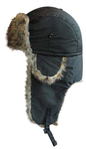 VIZ Bonnet pour Femme/Homme/Enfant Style Trappeur/Pilote imperméable avec Imitation Fourrure Noir
