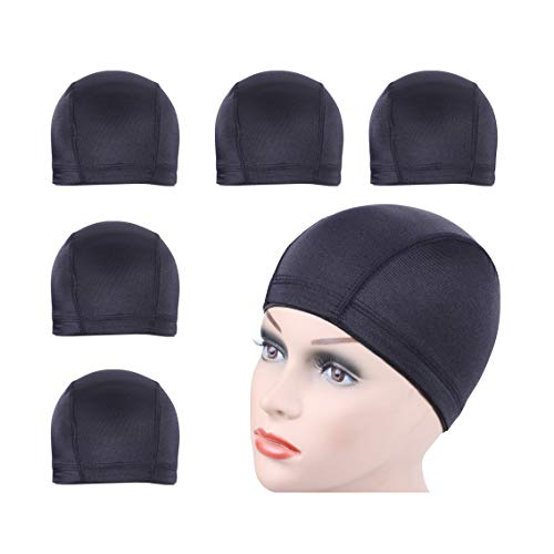 5 PCS/Lot Black Dome Cap Wig Cap for Making Wigs Stretchable Hairnets with Wide Elastic Band (Dome Cap M)