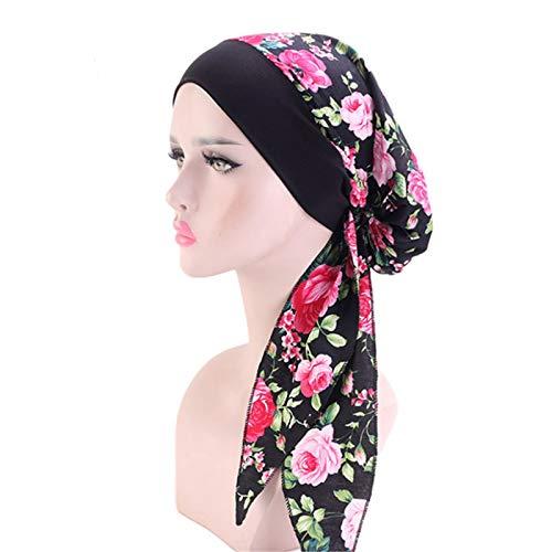 JOMSK Gorra de Sombrero Turbante 3 unids elástico de Ancho Sombrero de ala Ancha Baotou Sombrero de algodón Streamer quimioterapia Sombrero (Color : Pink Rose, Size : One Size)