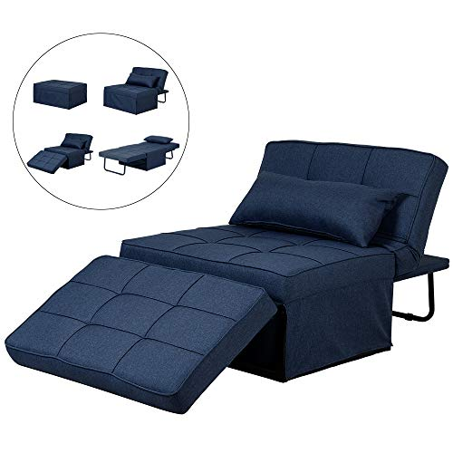 Diophros Folding Ottoman Sleeper Guest Bed, 4 in 1 Multi-Function Adjustable Ottoman Bed Bench Guest Sofa Chair (Navy Blue)