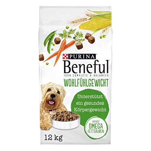 PURINA BENEFUL Wohlfühlgewicht Hundefutter trocken, mit Huhn und Gartengemüse, 1er Pack (1 x 12kg)