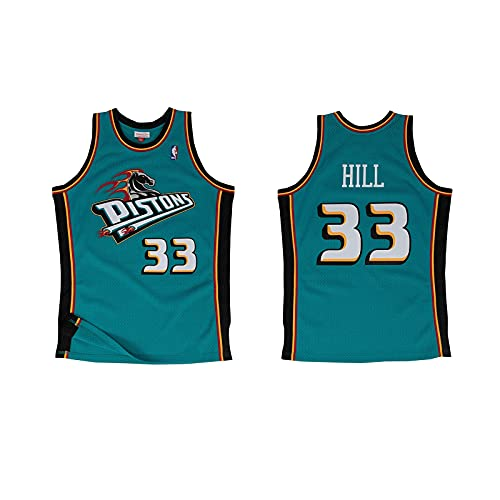 ZRHZB Pistons No. 33 Hill Hombre Jersey Camiseta de Baloncesto Malla Jersey Uniforme de Baloncesto Transpirable Chaleco (Tamaño: S-XXL),S
