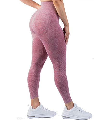 DUROFIT Damen Dotted Hohe Taille Booty Sport Leggings Tights Sportleggings mit Hohem Bund Blickdicht Yoga Push Up Leggings Sporthose Yogahose Sport Leggins für Gym Yoga Pilates Laufen Rosa S