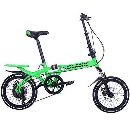 TYXTYX Plegable de Bicicletas de 16 Pulgadas portátil Boy Adultos y Chica de la Bicicleta de la Bicicleta Infantil,Marco de Acero,Adultos Unisex, Verde