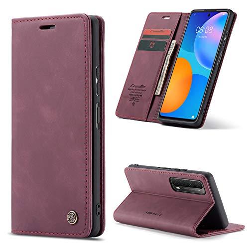 AKC Funda Compatible para Huawei P Smart 2021 Carcasa con Flip Case Cover Cuero Magnético Plegable Carter Soporte Prueba de Golpes Caso-Vino Rojo