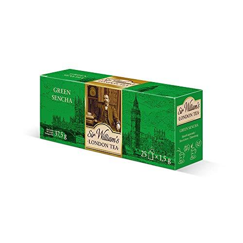 SIR WILLIAM'S LONDON TEA Sencha Tea - Beuteltee Grüner Tee, 25 Stk. Teebeutel je 1,5 g