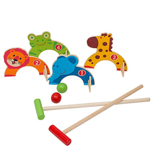 Wondertoys Wooden Animals Croquet Set Golf Toys with 2 Balls Early Educational Game Gift for Children