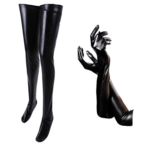 FSSTUD Schwarz Optik Leder Overknee Strümpfe Halterlose Strümpfe Kniestrümpfe und Lange Leder-Optik Handschuhe für Damen