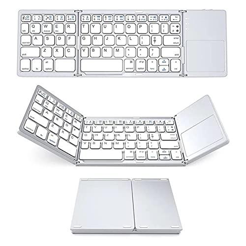 fuguzhu Teclado Bluetooth con Touchpad, plegable en formato de bolsillo, teclado inalámbrico QWERTY Layout, para PC, tablets y smartphones (color blanco)