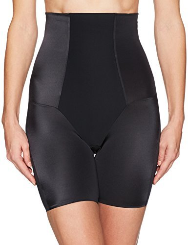 Arabella Women's Shine High Waist Thigh Control Shapewear with Spacer, Black, Small