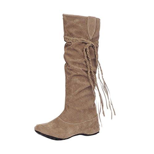 Dasongff Damen Schuhe, Damen Stiefel Fransenstiefel Langschaft Stiefel Erhöhen Sie Plattform Stiefel Motorrad-Schuhe Runde Flache Stiefel Schlupfstiefel Schuhe Boots (EU:40, Gelb)
