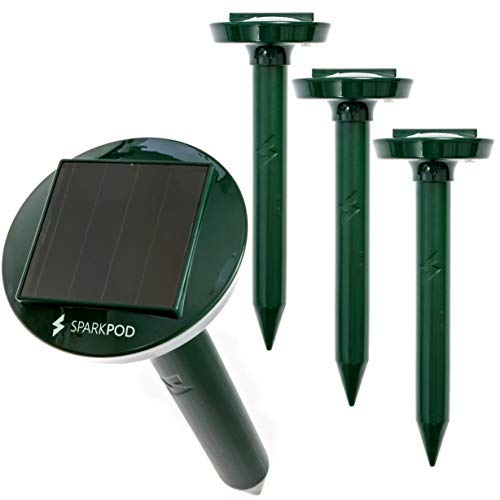 SparkPod Solar Mole Repeller (4 Pack) 4 Hours Solar Charge Lasts 5 Days Rids Your Garden of Moles Gophers and Voles Within 2-4 Weeks