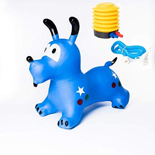 Flanacom Hüpftier inkl. Luftpumpe - Aufblasbares Sprungtier für Klein-Kinder - strapazierfähiges und umweltfreundliches Gummi - fördert Gleichgewichtssinn & motorische Fähigkeiten (Hund)