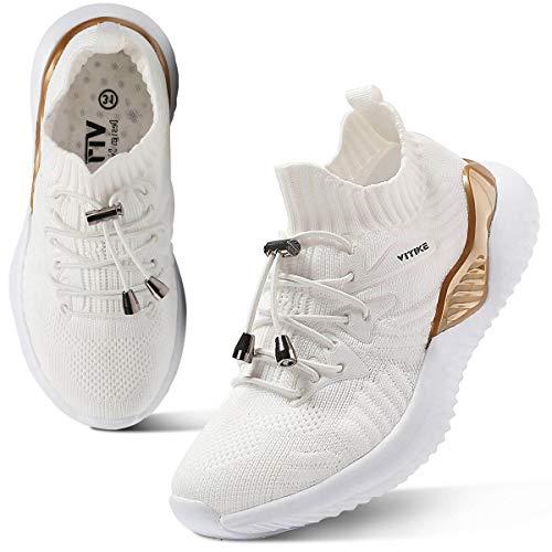 WETIKE Damen Hallenschuhe Schuhe Sportschuhe Laufschuhe Trainers Sneakers für Kinder Weiß 38EU