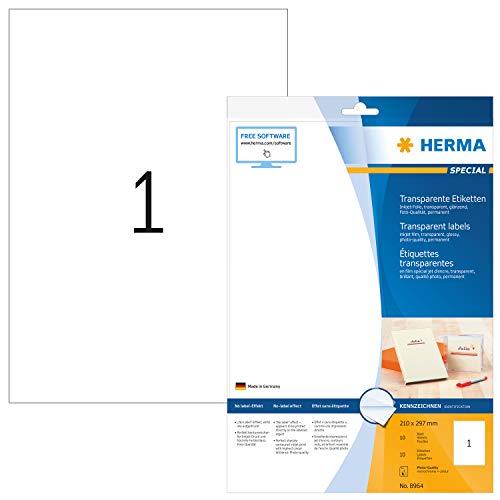 HERMA 8964 Folien-Etiketten für Inkjet Drucker DIN A4 transparent (210 x 297 mm, 10 Blatt, Folie, glänzend) selbstklebend, bedruckbar, permanent haftende Aufkleber, 10 Klebeetiketten, durchsichtig