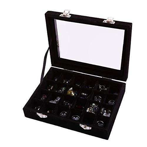 TIANTIAN 24 Grid Jewelry Earring Display Box with Lid High-End Jewelry Storage Box Earring Pendant Jewelry Box Ring Display Organiser Box Tray Holder Earrings Storage Case Black