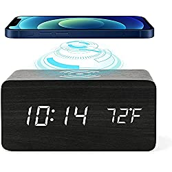 Wooden Digital Alarm Clock with Qi Wireless Charging, Compatible with iPhone, Samsung, Galaxy, Android,3 Alarm Settings, Sound Control, Wood LED Clocks for Bedroom, Bedside, Desk, Kids (Black)