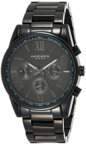 Akribos Multi-Function Stainless Steel Bracelet Watch - Three Hand Movement with Two Time Zones and Date Complication - Men's Ultimate Swiss Watch - AK736