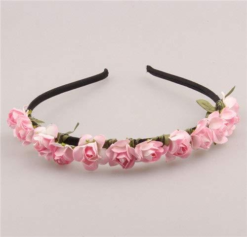 SSB-TOUDAI, Mignon Rose Fleur Couronne Festival Bandeau for Les Femmes Chapeaux De Mariage Guirlande Floral Hairband Accessoires (Color : White Pink)