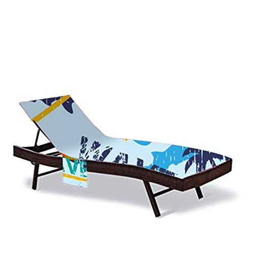 QEES - Funda para silla de playa con bolsillo lateral, cubierta para tumbona de patio, toalla reclinable para piscina, toalla de playa, Microfibra., Color 5, 212L x 75W CM