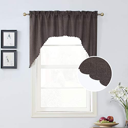 Rama Rose Rod Pocket Burlap Kitchen Valance Curtains- Scalloped Valance/Swags for Living Room ( 2 Pack, 54 Inches Wide Combined, 38 Inches Long, Brown)