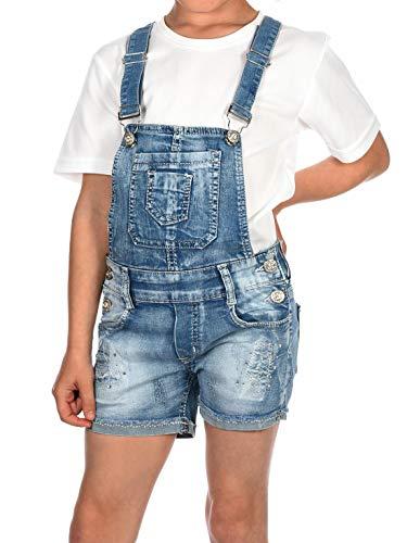 BEZLIT Kinder Mädchen Latz Jeans Shorts Latzhose Kurze Hose Latzshorts 30062 Blau 104