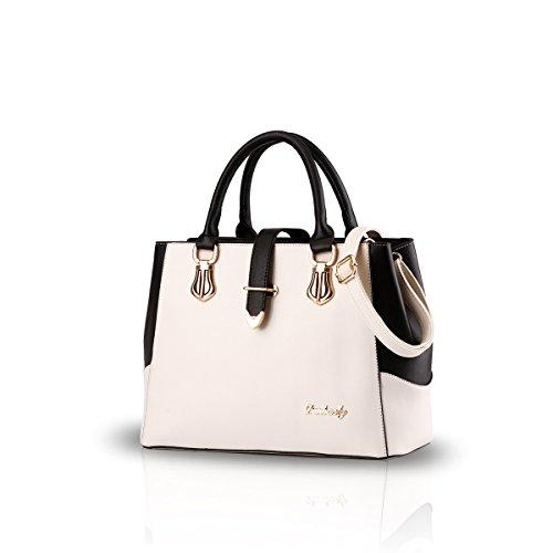 NICOLE & DORIS 2021 Mode Handtaschen für Frauen Umhängetasche Damen Tragetaschen Shopper Elegant Schultertasche PU Leder Tasche Weiß