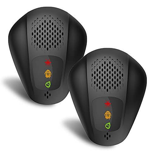 Nething™ Repellente per Topi Zanzare e Scarafaggi ad Ultrasuoni Professionale 2021, Dissuasore per Topi ad ultrasuoni, Repellente ultrasuoni per Topi e Insetti da Interno ed Esterno (2X Nero)