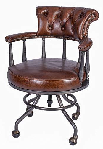 Chesterfield Bürostuhl Echtleder Stuhl auf Rollen Ledersessel Drehstuhl Leder ovl015 Palazzo Exklusiv