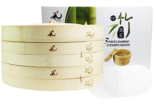 Yuho Asian Kitchen Bamboo Steamer 12–Inch, Individually Box, 2 Tiers & Lid, 10 Parchment Liners, Perfect For Steaming Dumplings, Vegetables, Meat, Fish, Rice, Healthy Lifestyle, 100% Natural Bamboo