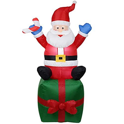 Papá Noel Inflable Navideño De 6 Pies,Papá Noel Inflable Mejorado,Inflable Navideño Inflable,Decoraciones De Patio con Luces LED Giratorias para Decoraciones Navideñas