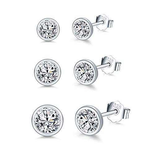 Shuxin Silver Stud Earrings for Women, 3 Pairs 925 Sterling Silver Cubic Zirconia Stud Earrings Set, Small Sleeper Cartilage Tragus Studs Earring, Silver Gold Tiny Round Stud Earrings, Size: 4, 5, 6mm
