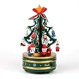 WJJ Arbol de Navidad de Fieltro Tablero de la mesa de madera de árbol de Navidad, árbol de Navidad giratorio de la caja de música con mini Adornos perfecta for unas vacaciones Oficina Tienda regalos A