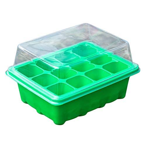 Germinador De Semillas, De 12 Hoyos Culture Indoor Water Box (Parte Superior De La Bandeja Plug + Cubierta + Cubeta Inferior) 3 Pieza Set/Apto For Tiesto Succulents