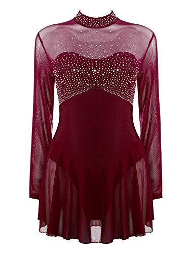 IEFIEL Vestido Patinaje sobre Hielo para Mujer Maillot de Danza Ballet Manga Larga Maillot con Falda Maillot de Gimnasia Ritmica Adulto S-XL Vino M