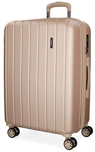 Movom Wood Maleta mediana Beige 44,50x65x27,5 cms Rígida ABS Cierre TSA 68L 3,8Kgs 4 Ruedas Dobles Extensible