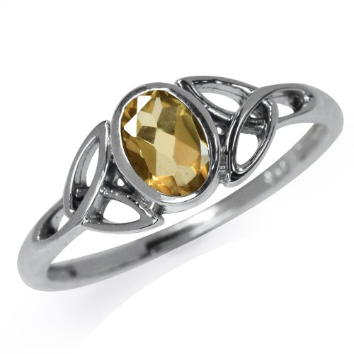 Silvershake Natural Citrine White Gold Plated 925 Sterling Silver Triquetra Celtic Knot Ring Size 7