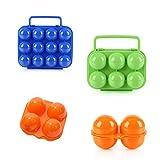 エッグホルダー 卵ケース 4種セット 2個 4個 6個 12個 アウトドア キャンプ 携帯 屋外 運搬 お弁当 耐衝撃 (2個用オレンジ・4個用オレンジ・6個用グリーン・12個用ブルー)