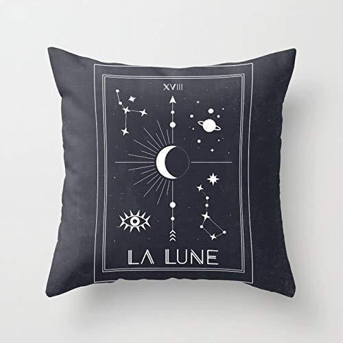 PPMP Funda de Almohada con diseño de Sol y Luna, Funda de cojín para sofá de Tarot del zodíaco, Funda de Almohada Decorativa, Funda de Almohada A5 45x45cm, 2pcs